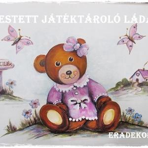 Mackó lányos meseláda keresztelőre, Játék & Gyerek, 3 éves kor alattiaknak, Festett tárgyak, Meska