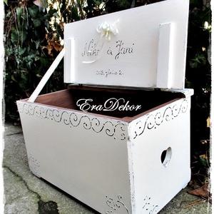 Nászajándék vintage esküvőre, Esküvő, Emlék & Ajándék, Nászajándék, Festett tárgyak, Esküvőre és keresztelőre készülnek ezek az antikolt fehér festéssel készülő vintage ládák.\nNévre szó..., Meska