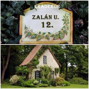 Zöld leveles otthon, Otthon & Lakás, Ház & Kert, Házszám, Festett tárgyak, Meska