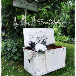 Nászajándék esküvőre., Esküvő, Emlék & Ajándék, Nászajándék, Festett tárgyak, Esküvőre és keresztelőre készülnek ezek az antikolt fehér festéssel készülő vintage ládák.\nNévre szó..., Meska