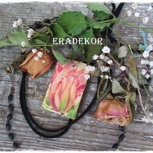Pasztell  tulipán , Ékszer, Nyaklánc, Medál, Decoupage, transzfer és szalvétatechnika, Festett tárgyak, Meska