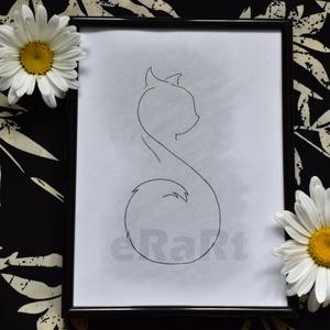Line art minimal sorozat - cica, Otthon & lakás, Képzőművészet, Festmény, Akvarell, Fotó, grafika, rajz, illusztráció, Festészet, A line art minimal sorozatom egyik darabja.\nAz egyszerű, de nagyszerű elvet követve születtek. Halvá..., Meska