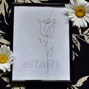 Line art minimal sorozat - rózsa, Otthon & lakás, Képzőművészet, Festmény, Akvarell, Festészet, Fotó, grafika, rajz, illusztráció, A line art minimal sorozatom egyik darabja.\nAz egyszerű, de nagyszerű elvet követve születtek. Halvá..., Meska