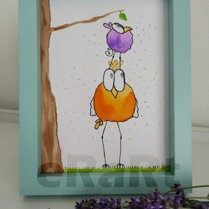 Funny birds sorozat - levél, Otthon & lakás, Képzőművészet, Festmény, Akvarell, Festészet, Fotó, grafika, rajz, illusztráció, A funny birds sorozat egyik darabja.\nMókás, színes, aranyos darabok gyerekeknek, vagy gyermeklelkű k..., Meska