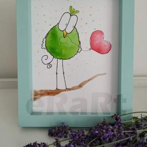 Funny birds sorozat - szív, Otthon & lakás, Képzőművészet, Festmény, Akvarell, Festészet, Fotó, grafika, rajz, illusztráció, A funny birds sorozat egyik darabja.\nMókás, színes, aranyos darabok gyerekeknek, vagy gyermeklelkű k..., Meska