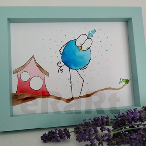Funny birds sorozat - kukac, Otthon & lakás, Képzőművészet, Festmény, Akvarell, Festészet, Fotó, grafika, rajz, illusztráció, A funny birds sorozat egyik darabja.\nMókás, színes, aranyos darabok gyerekeknek, vagy gyermeklelkű k..., Meska