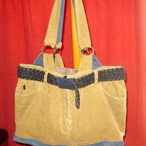 Nagy pakolós bársonytáska eredeti zsebekkel - bohókás csajoknak, Táska & Tok, Kézitáska & válltáska, Nagy pakolós táska, Újrahasznosított alapanyagból készült termékek, Meska