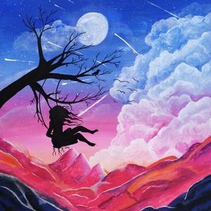 Festmény - Hintázó lány, Otthon & Lakás, Dekoráció, Kép & Falikép, Festészet, 50x60-as feszített vászonra készült akril festmény, amelynek minden részlete kézzel festett. Készíté..., Meska