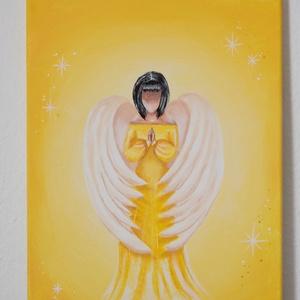Angyali áldás - festmény , Otthon & Lakás, Dekoráció, Kép & Falikép, Az egyik legkedvesebb témám az angyalok, ennek apropóján készítettem ezt a szépséges angyalkát. A fe..., Meska