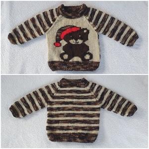 Téli macis gyerek pulóver, Ruha & Divat, Babaruha & Gyerekruha, Pulóver, Kötés, Karácsonyra, vagy csak úgy... fiúnak-lánynak, kényelmes meleg pulcsi. Kézzel kötött egyedi darab, eb..., Meska