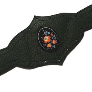 Fekete kalocsai bőr karkötő szett 7 (Erika1970) - Meska.hu