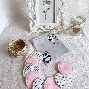 Arctisztító korongok, kis zsákkal együtt. Panda maci szürke, NoWaste, Otthon & lakás, Textilek, Pamut arctisztító, Textil tároló, Varrás, A környezet védelmében készült, újra és újra használható arctisztító, arclemosó korongok. Kis zsákk..., Meska