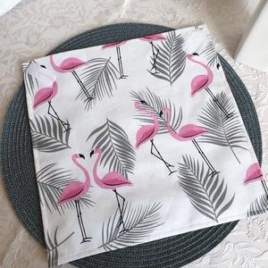 Újraszalvéta - Flamingós-pálmás, NoWaste, Textilek, Kendő, Textil tároló, Otthon & lakás, Konyhafelszerelés, Varrás, Újra és újra használható szalvéta egyszerű alternatívája a szalvétáknak, alufóliáknak, csomagolóanya..., Meska