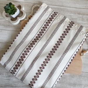 Kenyér és pékárú frissentartó zsák, PUL belső anyaggal. Barna palóc mintás -Nagy méretű (erikabanasz) - Meska.hu