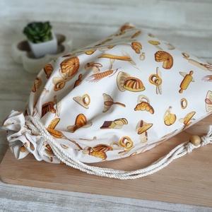 Kenyér és pékárú frissentartó zsák, PUL belső anyaggal. Pékárú mintás -Nagy méretű (erikabanasz) - Meska.hu