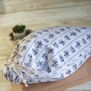 Kenyér és pékárú frissentartó zsák, PUL belső anyaggal. Kék apró virágos mintás -Nagy méretű (erikabanasz) - Meska.hu