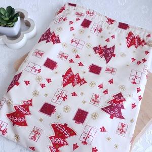 Kenyér és pékárú frissentartó zsák, PUL belső anyaggal. KARÁCSONY  Piros mintás -Nagy méretű, Otthon & Lakás, Karácsony & Mikulás, Varrás, Kenyér és pékárú frissentartó zsák, PUL anyaggal. \nKívül 100% (Ökotex100) pamutvászon, belül pul any..., Meska