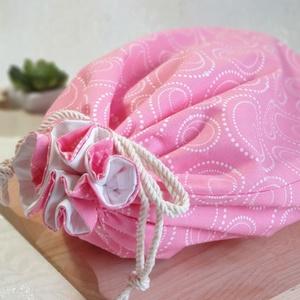 Kenyér és pékárú frissentartó zsák, Rózsaszín-gyöngy mintás -Nagy méretű, Táska & Tok, Bevásárlás & Shopper táska, Kenyeres zsák, Varrás, Kenyér és pékárú frissentartó zsák, PUL anyaggal. \nKívül 100% (Ökotex100) pamutvászon, belül pul any..., Meska