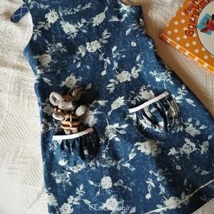 Virágosrét- kislány ruha II., Gyerek & játék, Táska, Divat & Szépség, Ruha, divat, Gyerekruha,   Gyönyörű, színes tavaszi-nyári ruhácskát készítettem kicsiknek, farmerhatású, virágmintás vászonbó..., Meska