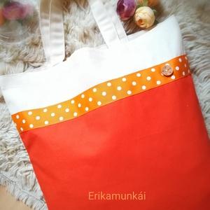 Bevásárlótáska-ökoszatyor V. Narancs- bézs szinben -  NoWaste  , Táska & Tok, Bevásárlás & Shopper táska, Shopper, textiltáska, szatyor, Varrás, \n\n\nErős, vastag,strapabíró vászonból készítettem ezt a bevásárlótáskát.\nKétféle szint kombináltam ös..., Meska