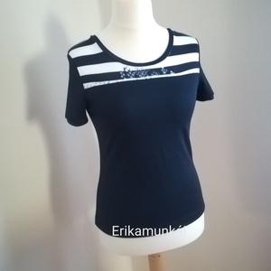 Kék-fehér csíkos tengerész stílusú női póló  - Meska.hu