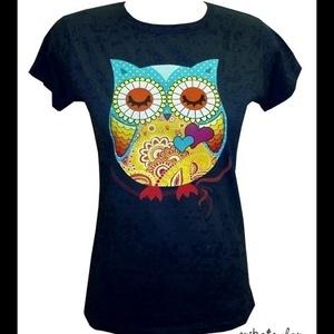Baglyos póló (női, sötétkék), Ruha & Divat, Női ruha, Póló, felső, Mindenmás, Meska