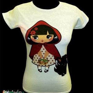 Piroska és a farkas póló (fehér), Ruha & Divat, Női ruha, Póló, felső, Mindenmás, Meska