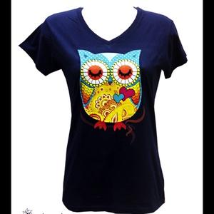 Baglyos póló V-kivágással (L-es, sötétkék), Ruha & Divat, Női ruha, Póló, felső, Mindenmás, Meska