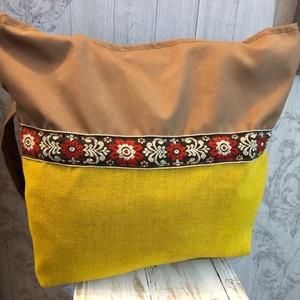 sárga betétes csak egy van táska, Táska, Divat & Szépség, Táska, Szatyor, Tarisznya, Válltáska, oldaltáska, Varrás, Barna vastag, vízlepergetős vászon alapon, sárga színű vászon betét, egy kis hímzett szalaggal. \nBel..., Meska