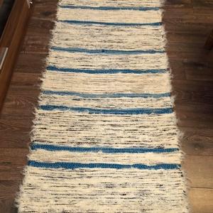 türkiz csíkos szőnyeg, Otthon & lakás, Lakberendezés, Lakástextil, Falvédő, Szőnyeg, Szövés, Hagyományosan kézi szövőszéken készült pamut-viszkóz alapanyagú szőnyeg, de akár falvédő, bútorvédő...., Meska