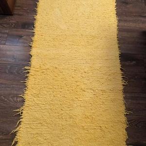 sárga színű, puha, vastag szőnyeg, Otthon & Lakás, Lakástextil, Szőnyeg, Szövés, Hagyományosan kézi szövőszéken készült pamut alapanyagú szőnyeg, de akár falvédő, bútorvédő...stb. M..., Meska