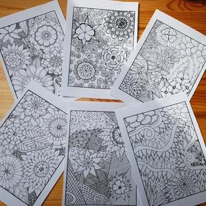Nyomtatható virágos színező lapok, Képzőművészet, Grafika, Rajz, Fotó, grafika, rajz, illusztráció, Kézzel készült színező lapok egyedi mintával. A rajzok vektorizáltak.  A 6 db rajzot elektronikus ú..., Meska