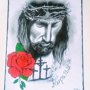 Jànos evangéliuma 11, Művészet, Grafika & Illusztráció, Fotó, grafika, rajz, illusztráció, Dekoratív tattoo design stílusban készült igés kép ( 28×36 ). Jànos 11, 25 - 26\nKitűnő ajàndék bibli..., Meska