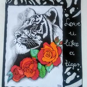 Like a tiger, Művészet, Grafika & Illusztráció, Fotó, grafika, rajz, illusztráció, 28×36 -os grafittal és filccel készült tattoo design kèp. A hàttér fekete karton akril tigris mintàv..., Meska