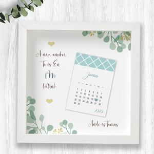 Esküvő napja- kreatív dátumos kép képkeretben/kék, Esküvő, Nászajándék, Otthon & lakás, Dekoráció, Kép, Fotó, grafika, rajz, illusztráció, Egyedi névre szóló ajándék, ami a nagy nap dátumát őrzi. Évfordulóra, nászajándékba.\n\nA név és a dát..., Meska