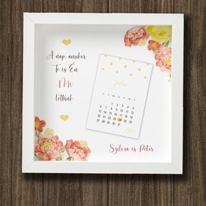 Esküvő napja- kreatív dátumos kép képkeretben/sárga, Esküvő, Nászajándék, Otthon & lakás, Dekoráció, Kép, Fotó, grafika, rajz, illusztráció, Egyedi névre szóló ajándék, ami a nagy nap dátumát őrzi. Évfordulóra, nászajándékba.\n\nA név és a dát..., Meska