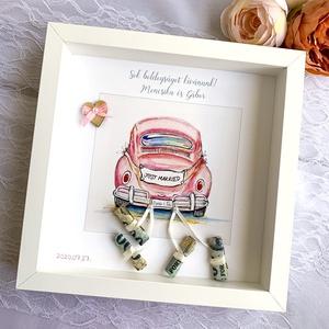 Nászajándék képkeretben-Rózsaszín, Esküvő, Nászajándék, Fotó, grafika, rajz, illusztráció, Különleges és személyreszóló nászajándék, fehér képkeretben.\nKépkeret mérete: 25x25 cm\n\nA megrendelé..., Meska