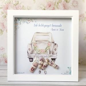 Nászajándék képkeretben, Esküvő, Nászajándék, Emlék & Ajándék, Fotó, grafika, rajz, illusztráció, Különleges és személyreszóló nászajándék, fehér képkeretben. Képkeret mérete: 25x25 cm  A megrendel..., Meska