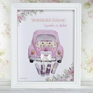 Nászajándék képkeretben - lila virágos, Esküvő, Emlék & Ajándék, Nászajándék, Fotó, grafika, rajz, illusztráció, Különleges és személyreszóló nászajándék, fehér képkeretben.\nKépkeret mérete: 23x28 cm, 6 cm mély\n\nA..., Meska