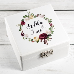 Gyűrűtartó doboz - Lila virágos - Meska.hu