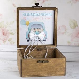 Nászajándék dobozban - barna, Esküvő, Kiegészítők, Gyűrűtartó & Gyűrűpárna, Festett tárgyak, Decoupage, transzfer és szalvétatechnika, Meska
