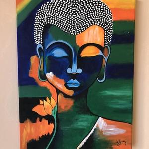 Buddha akril festmény, Művészet, Festmény, Akril, Festészet, Általam készített akril festmény keret nélkül. Mérete: 30x40, Meska