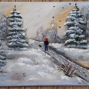 Délutáni séta - akril festmény , Egyéb, Karácsony, Otthon & lakás, Képzőművészet, Festmény, Akril, Festészet, Saját alkotás\nMéret: 30x40 cm\nTechnika: ecset, festőkés\nFesték: akril, Meska