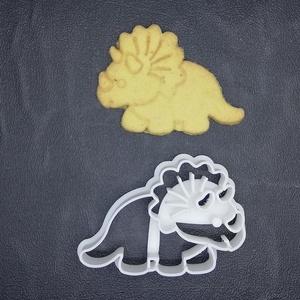 Dínó, dínós, triceratopsz keksz, süti. sütemény kiszúró forma, Konyhafelszerelés, Otthon & lakás, Egyéb, Mézeskalácssütés, Mindenmás, 3D nyomtatással készült triceratopszos (dínós) kekszkiszúró.\nLegnagyobb mérete kb 6cm.\nSzemélyes átv..., Meska