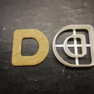 ABC-s (D) kekszkiszúró, Otthon & lakás, Konyhafelszerelés, Egyéb, Mézeskalácssütés, Mindenmás, 3D nyomtatással készült ABC-s (D)  kiszúró kekszhez, mézeskalácshoz, fondanthoz. \n\n6 és 8 cm-es mére..., Meska