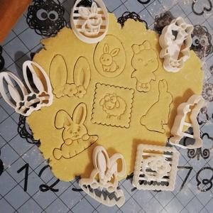 Húsvéti sütemény kiszúró forma szett, Otthon & lakás, Konyhafelszerelés, Dekoráció, Ünnepi dekoráció, Mindenmás, Mézeskalácssütés, 6 db-os húsvéti kekszkiszúró szett: nyuszis tojás, bárány, nyuszifül, csibe, ülő nyuszi, nyuszi répá..., Meska