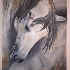 Ló festmény, Otthon & lakás, Dekoráció, Kép, Képzőművészet, Festmény, Olajfestmény, Lakberendezés, Falikép, Festészet, Olajfestő technikával készült ló festmény. Keret nélkül. Méretei: 29,5×41,8 cm., Meska