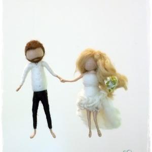 Esküvő (menyasszony-vőlegény) - tűnemezelt baba, dísz, függő, Helyszíni dekor, Dekoráció, Esküvő, Nemezelés, Egyedi és különleges esküvői ajándék lehet. \nA pár karaktere szerint készítem el a babákat, 12cm-es ..., Meska