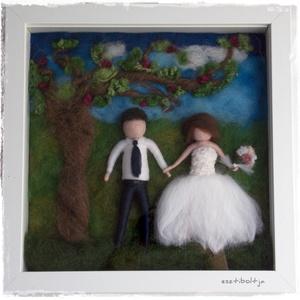Nemezelt esküvői kép 3D-s keretben , Esküvő, Nászajándék, Otthon & lakás, Lakberendezés, Falikép, Nemezelés, A nemezelt figurákat nem csak akasztós, vagy függős változatban kérheted, hanem mélyített, úgyneveze..., Meska
