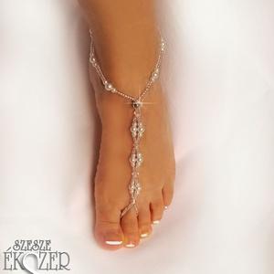 Gyöngyös, kristályos lábékszer, Lábdísz & Lábgyűrű, Lábdísz & Testékszer, Ékszer, Ékszerkészítés, Gyöngyfűzés, gyöngyhímzés, Tekla gyöngyökből és csillogós kásagyöngyökből, elasztikus szálra készült lábékszer, strasszkővel dí..., Meska